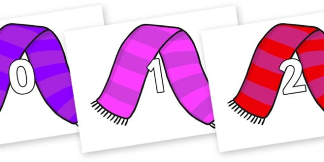 Numbers 0-31 on Scarves - 0-31, foundation stage numeracy, Number recognition, Number flashcards, counting, number frieze, Display numbers, number posters