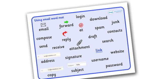 Using Email Word Mat - Using Email Word Mat, Email, writing, word mat, mat, writing aid, at, compose, write, new, reply, forward, send, inbox
