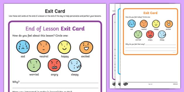 Exit Cards Activity Sheet, worksheet