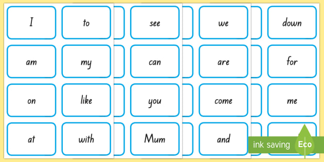 New Zealand New Entrant High Frequency Word Assessment Flashcards - New Zealand Planning and Assessment, new starter, assess, high frequency words, spelling, reading, l