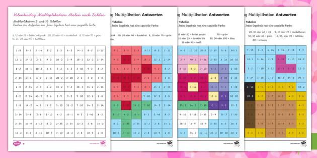 Valentinstag Multiplikation Malen nach Zahlen - Valentinstag