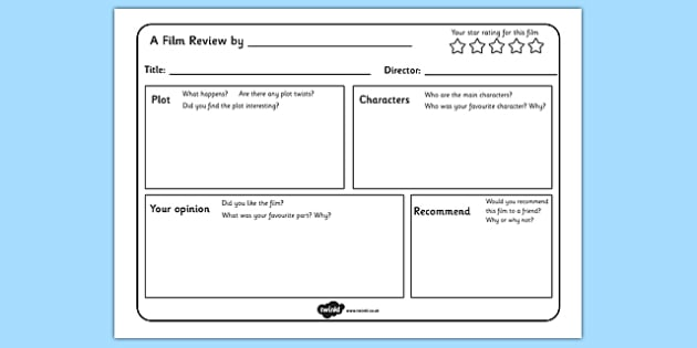 Film Review Writing Template - templates, write, reviews, films