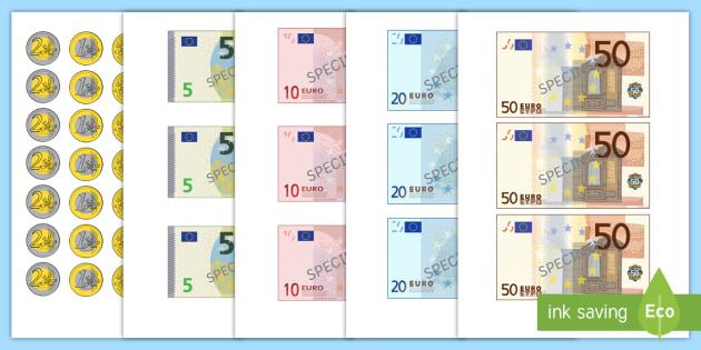euroscheine und centmünzen zum ausschneiden teacher made