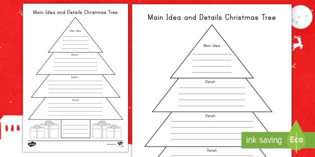 Main Idea and Details Christmas Tree Activity - Graphic Organizer, reading  response, read to - Main Idea And Details Christmas Tree Activity - Graphic