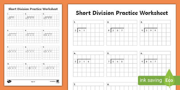 Standard Algorithm Math Division Worksheets Teacher Made