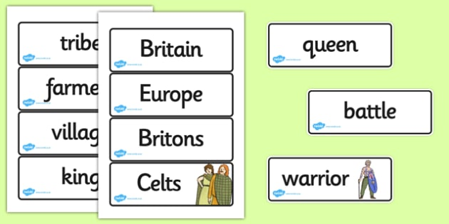 The Celts Iron Age Word Cards - the celts, iron age, word cards, wordcards, word flash cards, flash cards, words, key words, keywords, key word cards