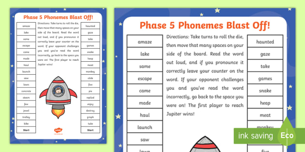 Phase 5 Blast Off Partner Game - phase five, phases, games, phonics