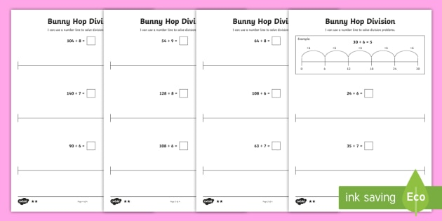 Bunny Hop Division by 6 7 8 9   Differentiated Activity Sheets - Repeated Subtraction, Number Line, Divide, Share, Steps