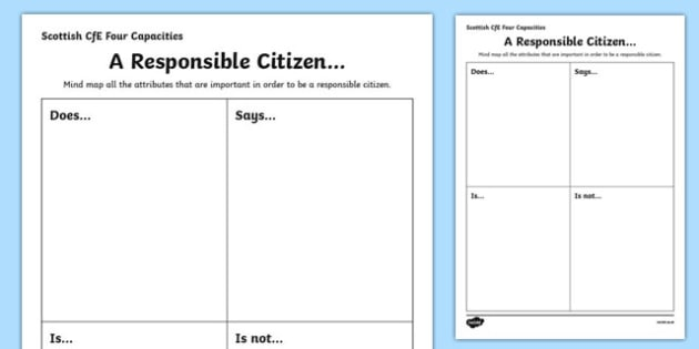 Scottish Curriculum for Excellence Four Capacities Responsible Citizens Activity Sheet-Scottish, worksheet