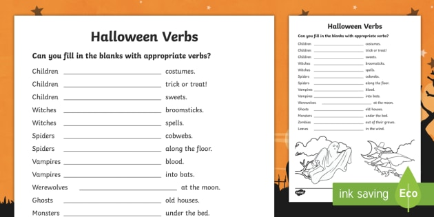 Halloween Verbs Worksheet Teacher Made