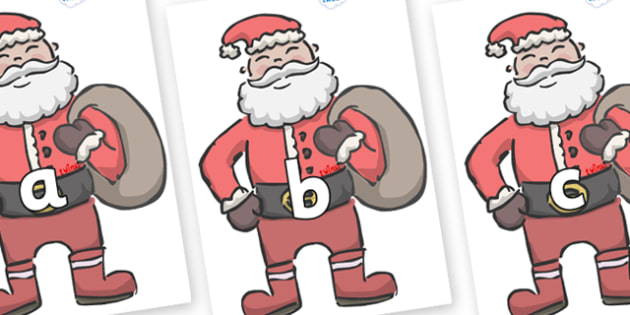 Phase 2 Phonemes on Santas - Phonemes, phoneme, Phase 2, Phase two, Foundation, Literacy, Letters and Sounds, DfES, display