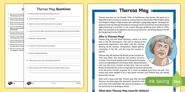 Theresa May Biography Differentiated Reading Comprehension Activity