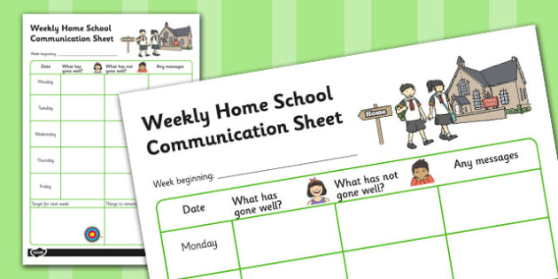 Weekly Home School Communication Sheet Primary - Home, School, Communciation, SEN, Special, Educational, Needs, Additional, Transition, Parents, Carers