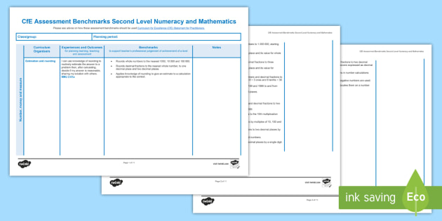 CfE Benchmarks Second Level Numeracy and Mathematics Assessment Tracker-Scottish