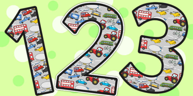 Transport Themed A4 Display Numbers - transport, display, numbers
