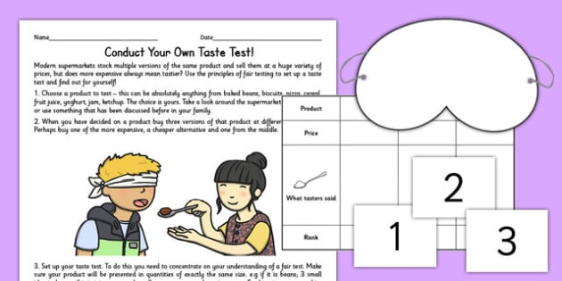 Taste Test Activity Sheet - taste, test, activity sheet, activity, worksheet