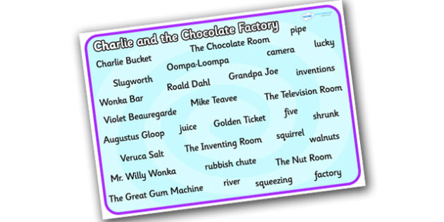 word mat to support teaching on charlie and the chocolate word mat to support teaching on charlie and the chocolate factory word mat charlie