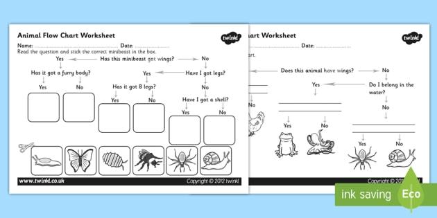 Animal Flow Chart Worksheet - animal flow chart, flow chart worksheet, cut and stick flow chart worksheet, classifying animals, ks2 science worksheet, ks2
