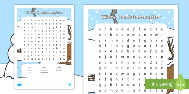 Winter Buchstabengitter - Jahreszeiten, kalt, Vokabular, suchen