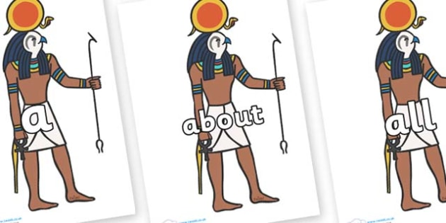 100 High Frequency Words on Egyptian Figures - High frequency words, hfw, DfES Letters and Sounds, Letters and Sounds, display words