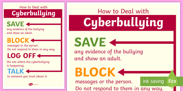 How to Deal With Cyberbullying Poster - cyberbullying, poster