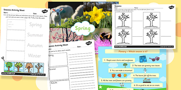 Seasons Task Setter Activity Powerpoint with Worksheets - task