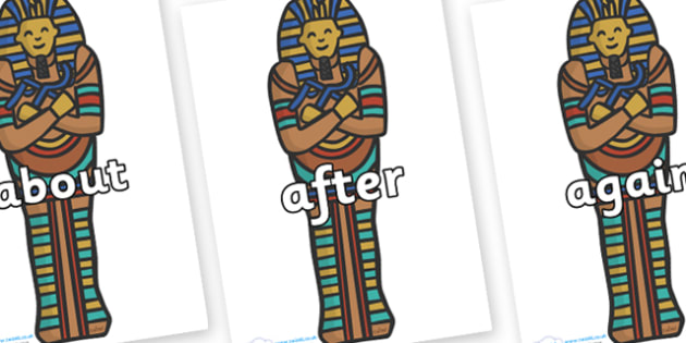 KS1 Keywords on Sarcophagus - KS1, CLL, Communication language and literacy, Display, Key words, high frequency words, foundation stage literacy, DfES Letters and Sounds, Letters and Sounds, spelling