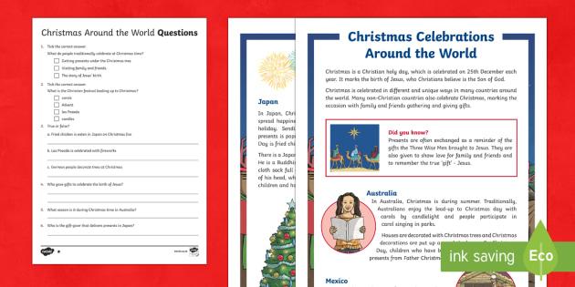 Christmas Celebrations Around the World Differentiated Comprehension Challenge Sheet-Australia