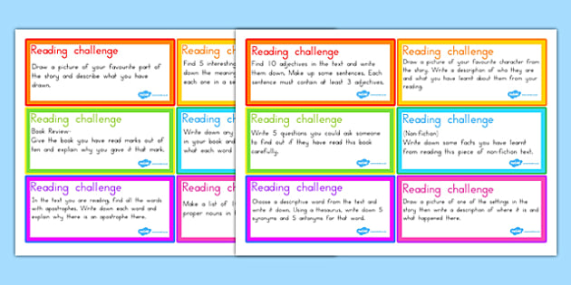 Guided Reading Challenge Cards - guided reading, reading, cards