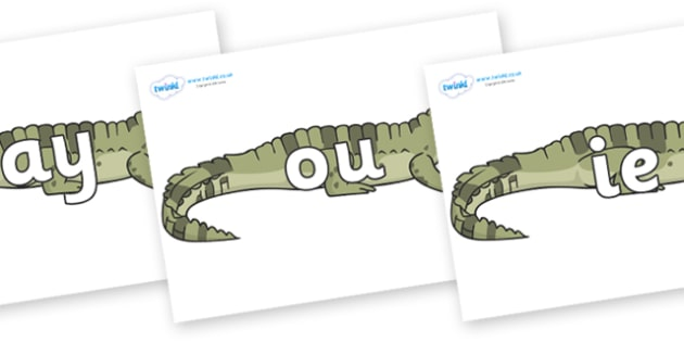 Phase 5 Phonemes on Crocodiles - Phonemes, phoneme, Phase 5, Phase five, Foundation, Literacy, Letters and Sounds, DfES, display