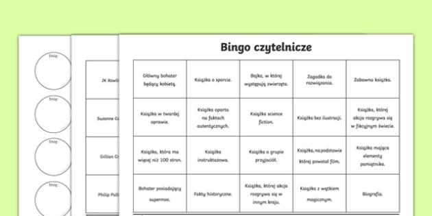 Book Reading Bingo Activity Sheets-Polish, worksheet