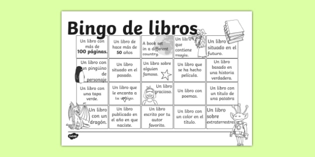 Bingo de libros Book Bingo Activity Sheet Spanish - spanish, reading, literacy, game, library, ks2, interaction, stories, worksheet