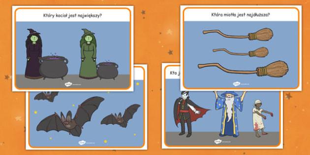 Zadania na porównywanie Halloween po polsku - większy, mniejszy