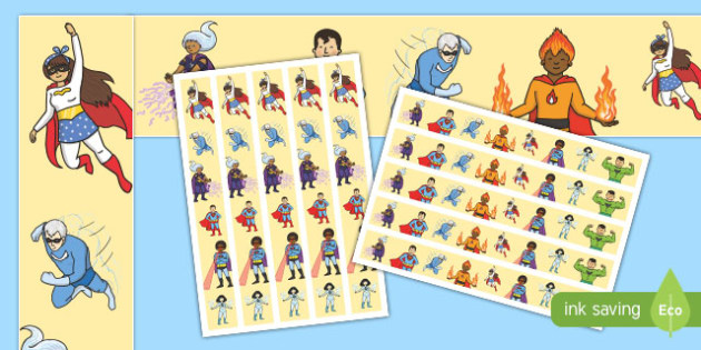 Superhero Display Borders Sheets - Superhero, superheroes, display border, borders, border, Superhero, superheroes, hero, batman, superman, spiderman, special, power, powers, catwoman, liono, he-man