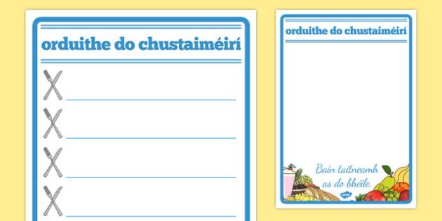 Orduithe do chustaiméirí Restaurant Role Play Notepad Gaeilge - gaeilge, food, roleplay, props, cafe