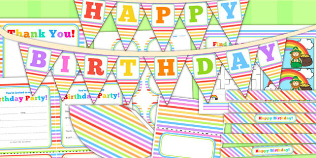 Rainbow Themed Birthday Party Pack - birthdays, parties, props