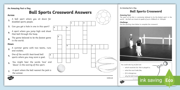 Sports Crossword Clues Ball Sports Home Learning
