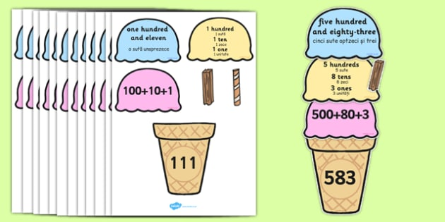 Place Value Ice Cream Cone Matching Activity Hundreds Tens and Ones Romanian Translation - romanian, place value, ice cream cone, matching, activity