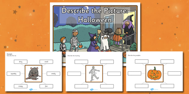 Describe the Picture Halloween Writing Frame - halloween, writing frame