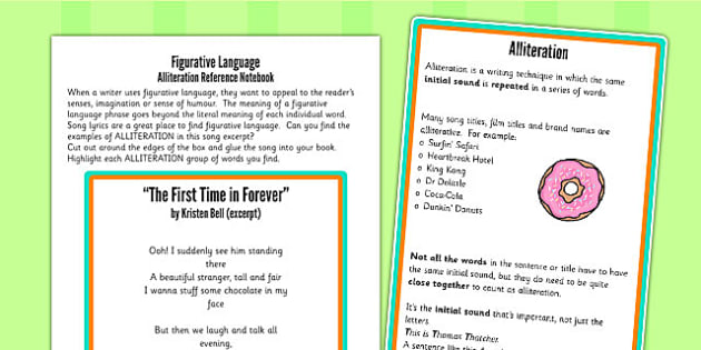 Alliteration Figurative Language Worksheet Activity Sheet
