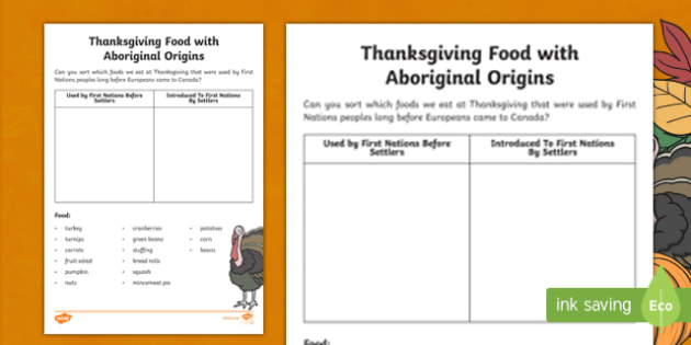 Thanksgiving Food with Aboriginal Origins Activity