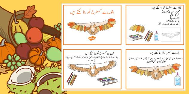 Leaf Owl Craft Instructions Urdu - urdu, Autumn, seasons, september, october, topics, ks1, harvest, hibernation, reception, EYFS, owl, animal, forest, craft, leaves, leaf