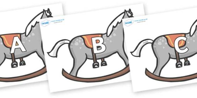 A-Z Alphabet on Rocking Horses - A-Z, A4, display, Alphabet frieze, Display letters, Letter posters, A-Z letters, Alphabet flashcards
