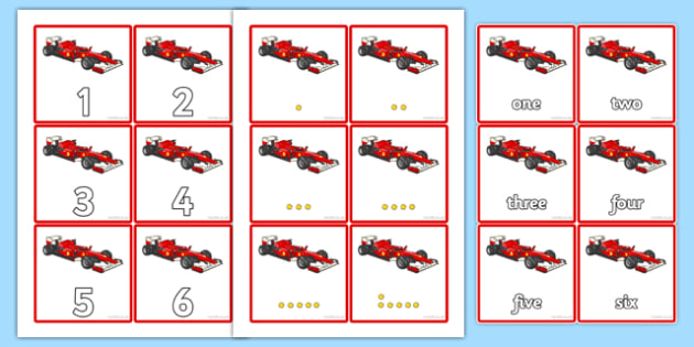 Racing Car Sorting Cards - Number order, number ordering, ordering, teddy bear, flashcards, numbers 0-20, sorting, large, small, number, number word, counting