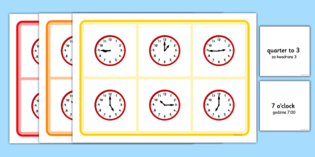 Mixed Time Bingo Polish Translation - polish, Mixed time bingo, time game, Time resource, Time vocabulary, clock face, Oclock, half past, quarter past, quarter to, shapes spaces measures