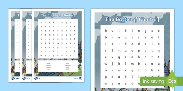 The Battle of Clontarf Differentiated Word Search-Irish