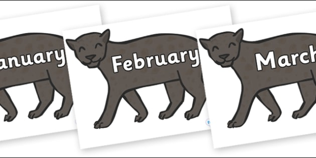 Months of the Year on Panthers - Months of the Year, Months poster, Months display, display, poster, frieze, Months, month, January, February, March, April, May, June, July, August, September