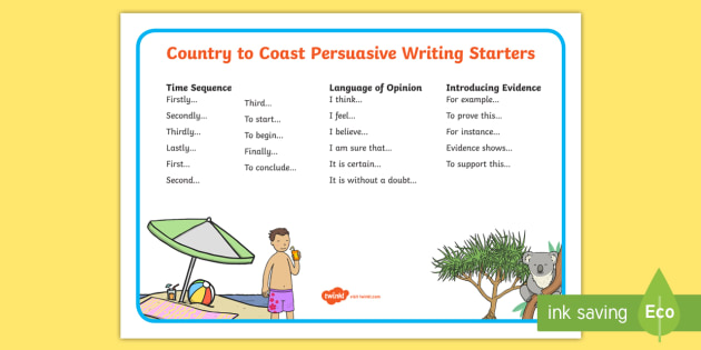 Under Eights Week: Country to Coast Persuasive Writing Word Mat