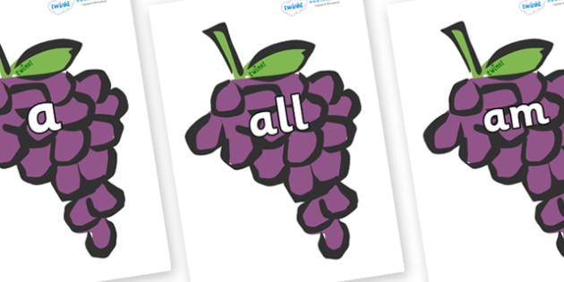 Foundation Stage 2 Keywords on Grapes - FS2, CLL, keywords, Communication language and literacy,  Display, Key words, high frequency words, foundation stage literacy, DfES Letters and Sounds, Letters and Sounds, spelling