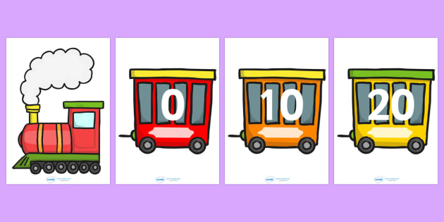 Counting in 10s Number Train - Counting, Numberline, Number line, Counting on, Counting back, even numbers, foundation stage numeracy, train, counting in 10s